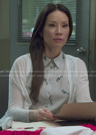 Joan's seahorse print shirtdress on Elementary