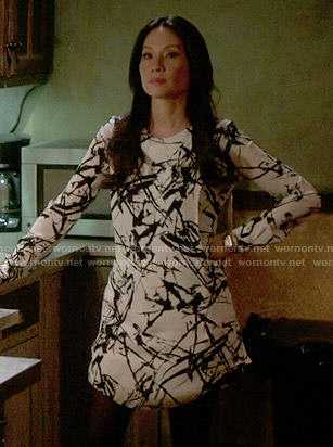 Joan's black and white brushstroke print dress on Elementary