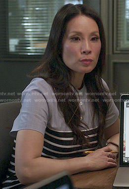 Joan's striped panel shirt dress on Elementary