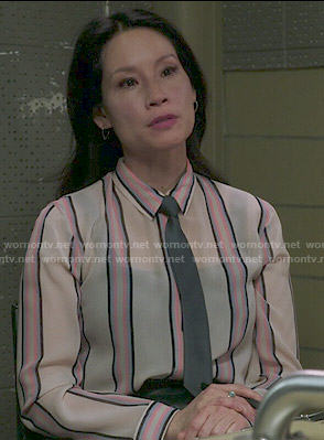 Joan's vertical striped shirt on Elementary