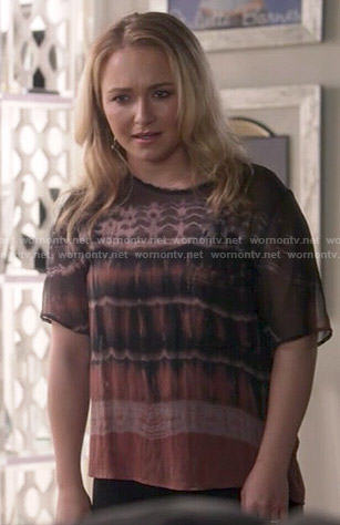 Juliette's tie dye top on Nashville