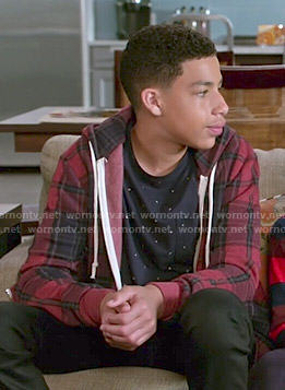 Junior's red plaid hoodie on Black-ish