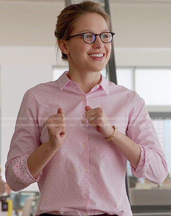 Kara's pink pin dot shirt on Supergirl