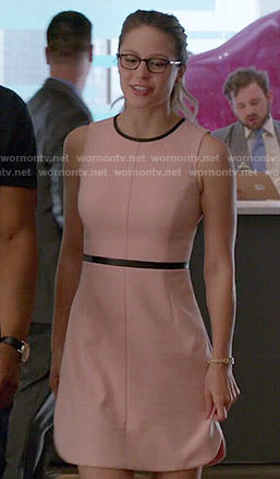 Kara's pink dress with black trim on Supergirl