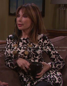 Kate's black and white damask print dress on Days of Our Lives