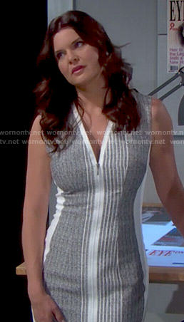 Katie's grey and white zip front dress on The Bold and the Beautiful