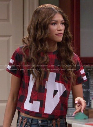 KC's red checked upside down 47 top on KC Undercover