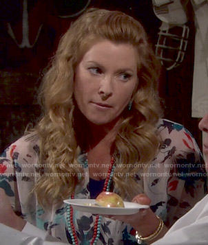 Kelly's floral blouse on The Young and the Restless