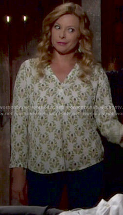Kelly's pineapple print top on The Young and the Restless