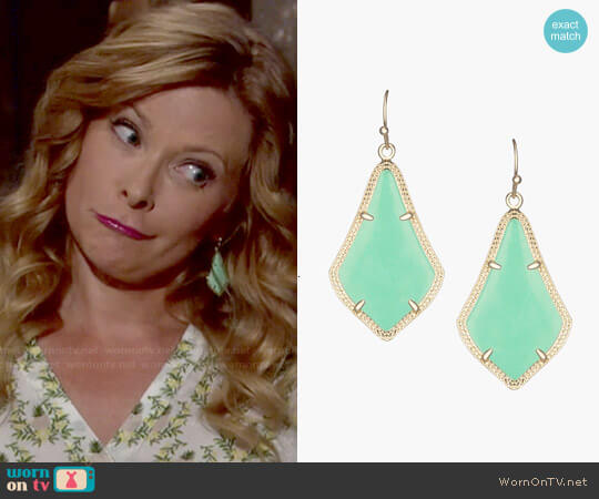 Kendra Scott Alex Earrings in Gold Seafoam worn by Kelly on The Young and the Restless