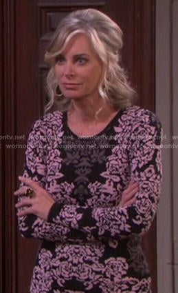 Kristen's pink and black printed dress on Days of Our Lives