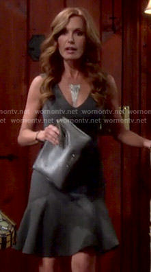 Lauren's grey v-neck flared dress on The Young and the Restless