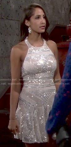 Wornontv Lily S Embellished Halter Neck Dress On The