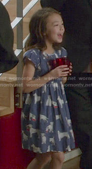Lily's blue dog print dress on Modern Family