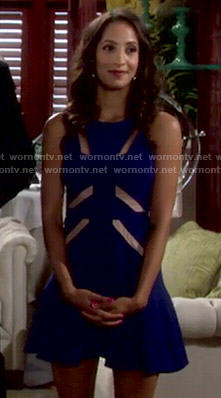 Lily's blue mesh inset dress on The Young and the Restless