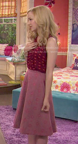 Liv's burgundy lips print top and full pink skirt on Liv and Maddie