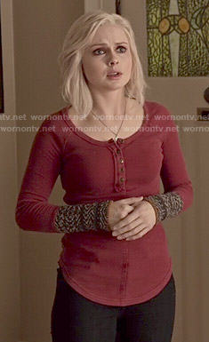 Liv's red henley top with embroidered cuffs on iZombie