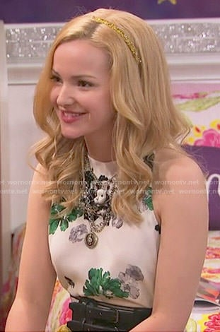 Liv's white floral top and yellow skirt on Liv and Maddie