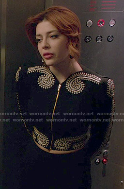 Louise's black embroidered jacket on Revenge