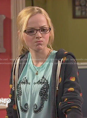 Maddie's seahorse print top and peach print hoodie on Liv and Maddie