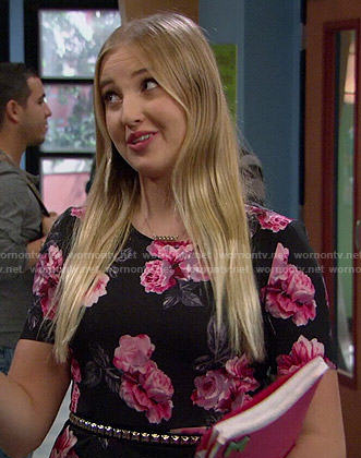Marisa's black and pink rose print dress on KC Undercover