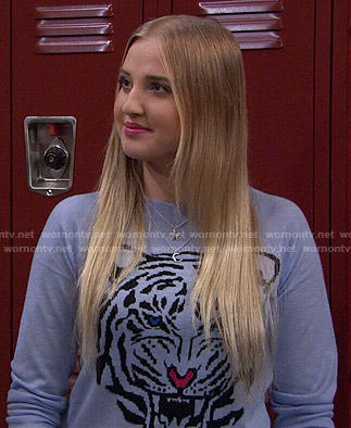 Marissa's blue tiger sweater on KC Undercover