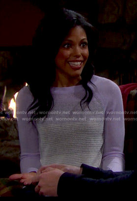 Maya's purple colorblock sweater on The Bold and the Beautiful