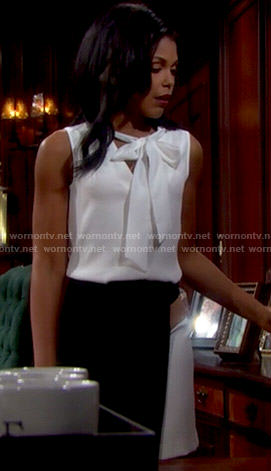 Maya's white tie neck top and colorblock wrap skirt on The Bold and the Beautiful