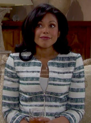 Maya's green striped jacket on The Bold and the Beautiful