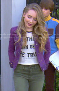 Maya's To Thine Own Self Be True top and purple studded denim jacket on Girl Meets World