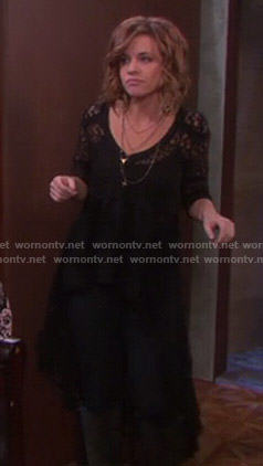 Melanie's black lace high-low top on Days of Our Lives