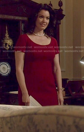 Mellie's red scoop neck sheath dress on Scandal