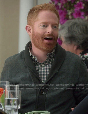 Mitchell's grey shawl collar cardigan on Modern Family