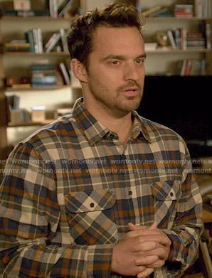 Nick's blue and orange plaid shirt on New Girl