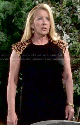 Nikki's black dress with leopard shoulders on The Young and the Restless