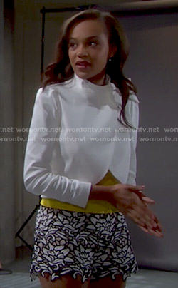 Nicole's white cropped jacket with bow and lace shorts on The Bold and the Beautiful