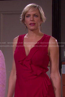 Nicole's red ruffled wrap dress on Days of Our Lives