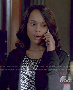 Olivia's black and white printed top and black cardigan on Scandal