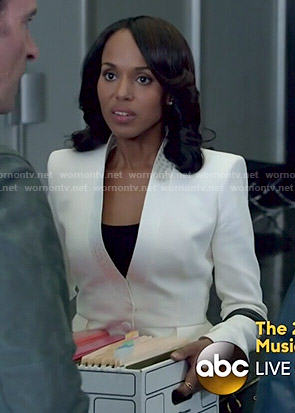 Olivia's white blazer with dotted trim on Scandal