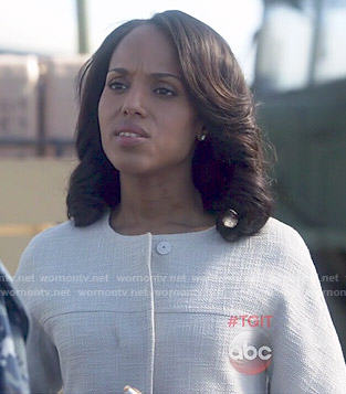 Olivia's white textured coat on Scandal