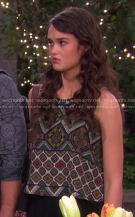Paige's tile printed top on Days of Our Lives
