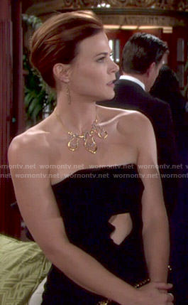 Phyllis's black strapless cutout dress with ruffle on The Young and the Restless