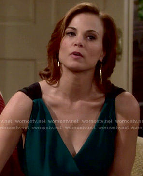 Phyllis's green wrap jumpsuit on The Young and the Restless