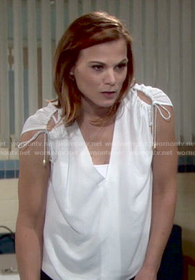 Phyllis's white drawstring shoulder top on The Young and the Restless