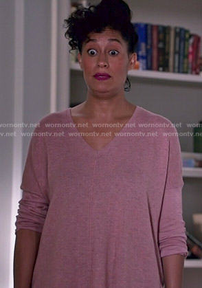 Rainbow's pink v-neck sweater on Black-ish