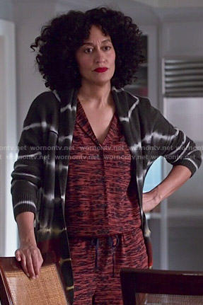 Rainbow's red printed jumpsuit and tie dyed cardigan on Black-ish