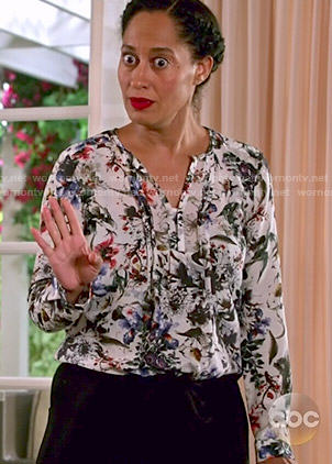 Rainbow's floral blouse on Black-ish