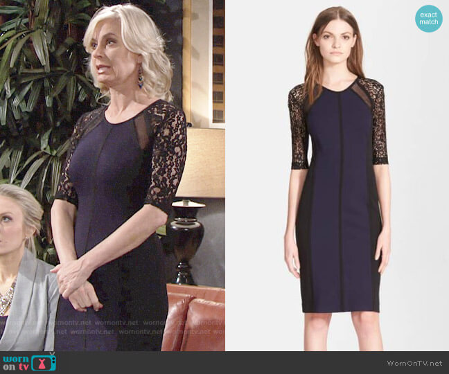 Rebecca Taylor Ponte & Lace Dress worn by Eileen Davidson on The Young & the Restless