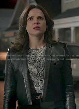Regina's snake print top and cropped leather jacket on Once Upon a Time