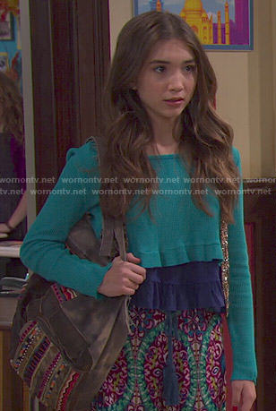 Riley's teal green crop top and printed wide leg pants on Girl Meets World